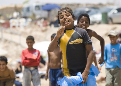 beach clean up sack race