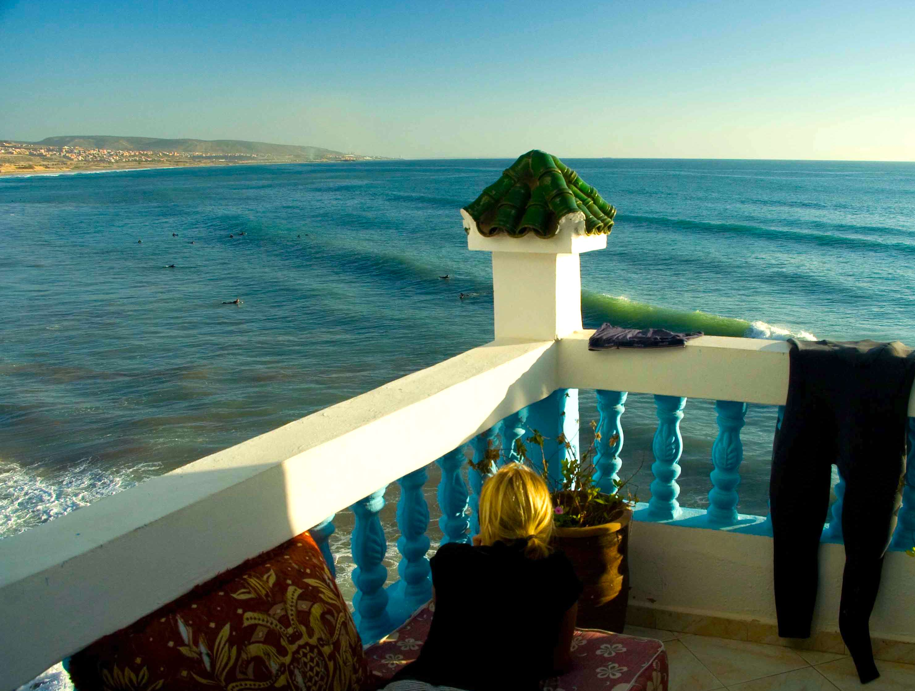 surf camp vista terrace overlooking taghazout