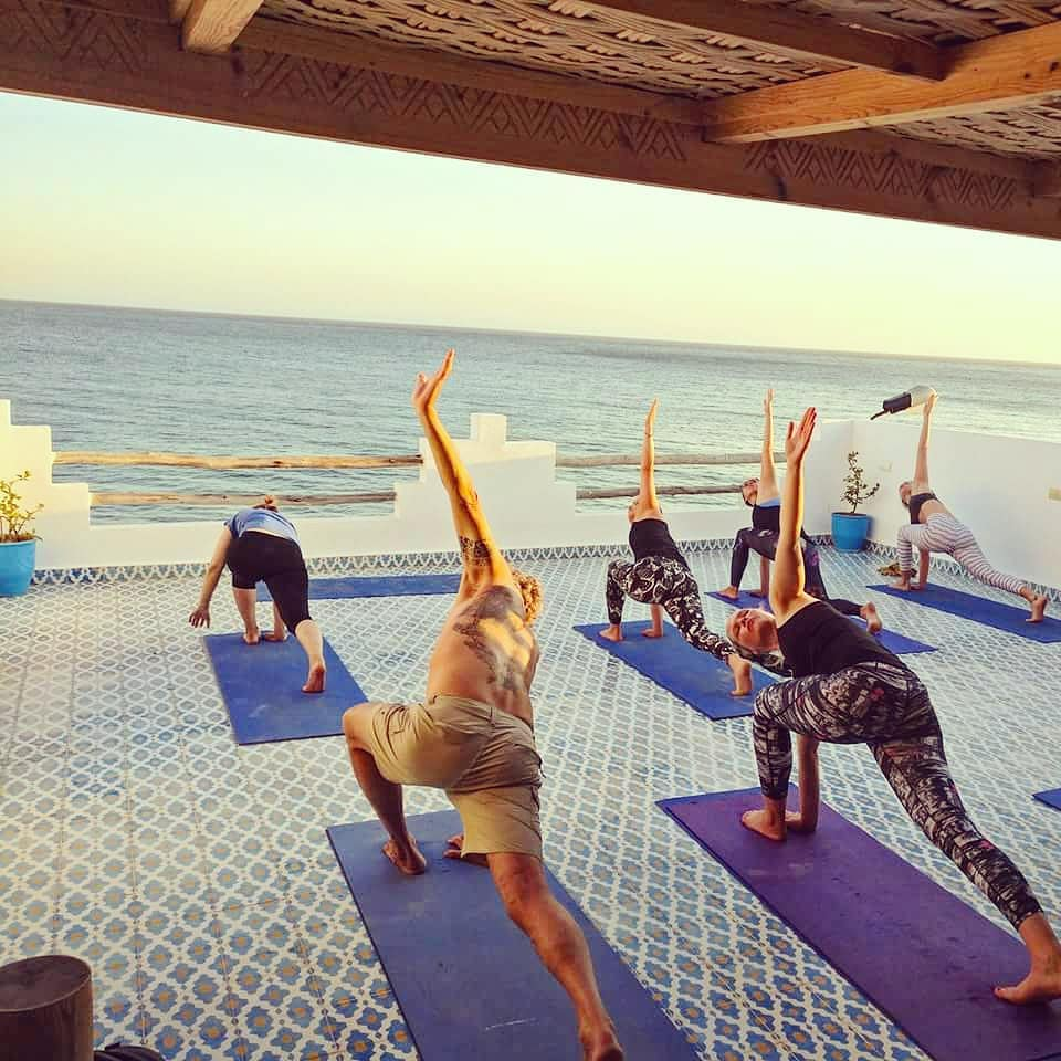sunset yoga at surf berbere taghazout