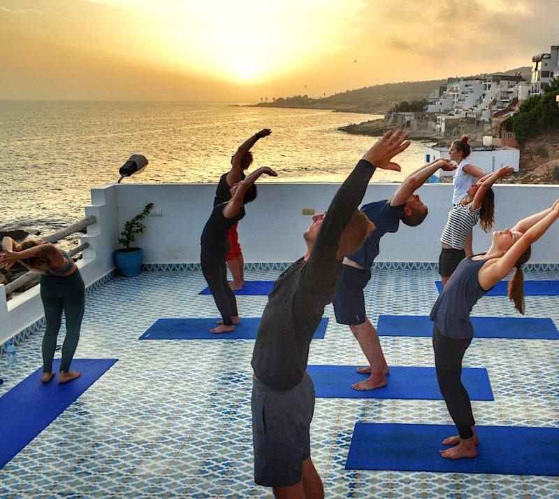 surf and yoga with surf berbere at the camp roof terrace yoga studio